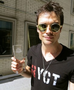 Ian Somerhalder receives one of the first Hero Goody necklaces at Social Good Summit