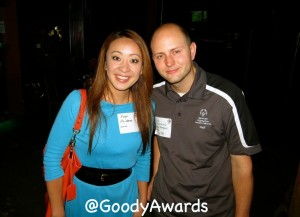 Rumi Kaibara and Brian Szcerbinski (Special Olympics) received Hero Goody Award tags