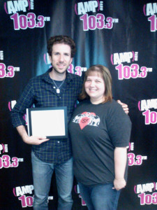 Radio Show Host TJ Taormina receives Hero Goody Award from fan Kelly Mayer