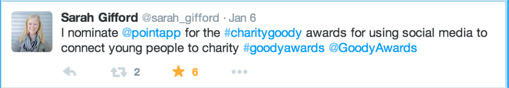 Vote for Extraordinary Social Good Leaders using 1 of 20 Goody Awards hashtag categories.