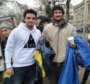 "Craig Edwards with ""John"" at first Backpack Project in Manchester's Piccadilly Gardens"