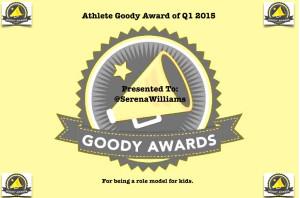 Serena Williams wins Athlete Goody Award Q1 2015
