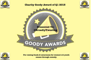 Broadly Tweeting won Charity Goody Award Q1 2015!