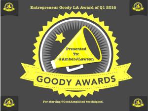 Amber J Lawson, Entrepreneur Goody Award Q1 2016