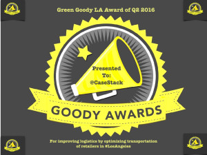 Join us in cheers for @CaseStack for winning #GreenGoodyLA #GoodyAwards Q2 2016