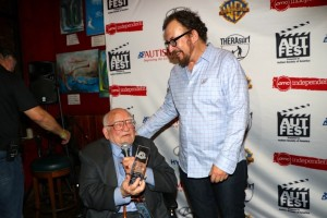 Actor Ed Asner presents Golden Goody Award to son Matt Asner at Autfest 2017